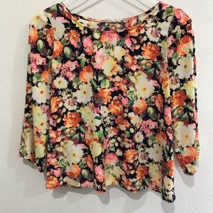 Lush | Floral Print 3/4 Length Sleeve Blouse